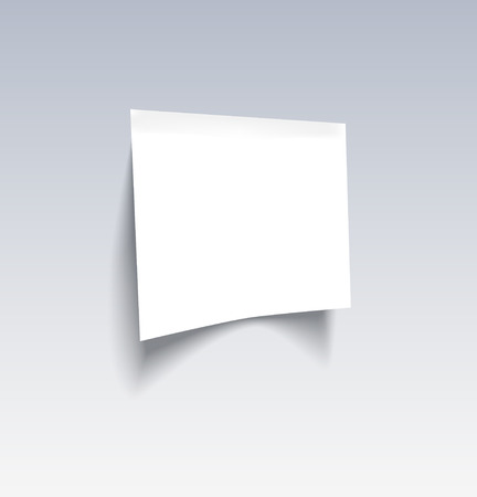 White blank paper attached on the wall. Vector illustration Vector
