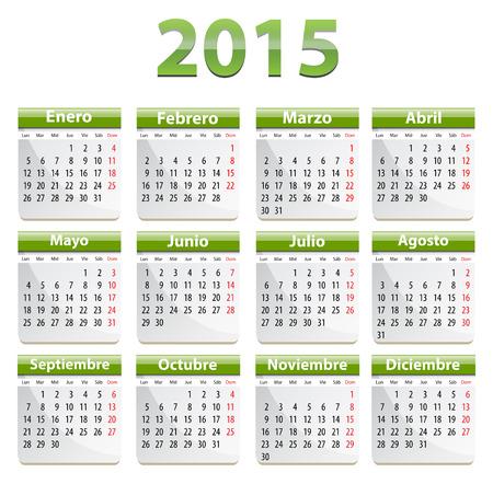 Green calendar for 2015 year in Spanish language.  Vector