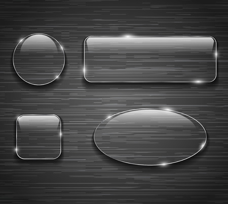 Glass buttons on brushed metallic background. Vector illustration Vectores