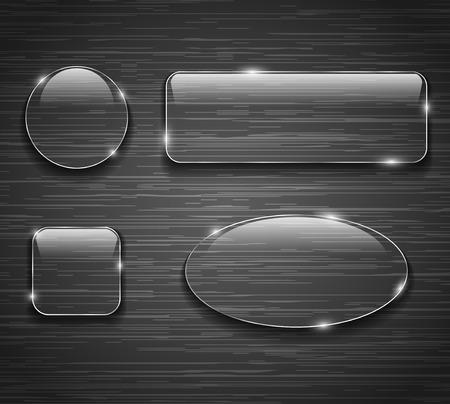 Glass buttons on brushed metallic background. Vector illustration Ilustração
