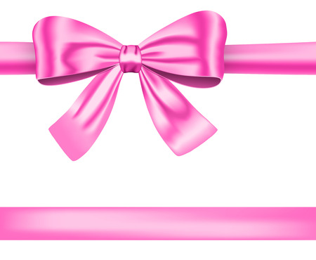 pink bow: Gift ribbon with pink luxurious bow for decorations. Vector illustration Illustration