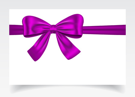 knotted: Nice gift card with violet ribbon and bow. Vector illustration
