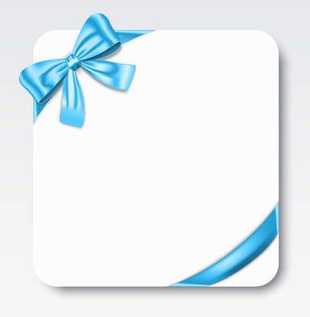 knotted: Nice gift card with blue ribbon and bow. Vector illustration