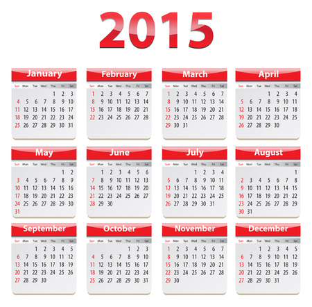 weekday: Calendar for 2015 year in English. Vector illustration Illustration