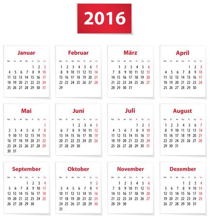 agenda year planner: Calendar for 2016 year in German on white paper. Vector illustration Illustration