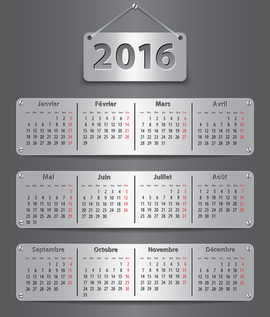 Calendar for 2016 year in French with attached metallic tablets. Vector illustration Vectores