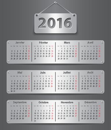 kalendarz: Kalendarz na 2016 rok w języku francuskim z dołączonymi tabletek metalicznych. ilustracji wektorowych