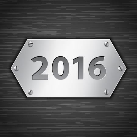 metallic background: 2016 metallic banner attached with screws on dark brushed metallic background. Vector illustration Illustration