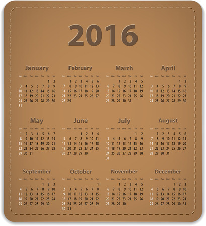 brown leather: Calendar for 2016 year on brown leather background in English. Vector illustration