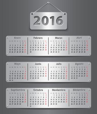 tablet vector: 2016 Spanish calendar on metallic tablet. Vector illustration