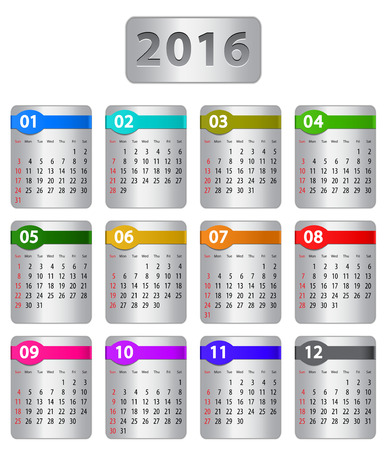 Calendar for 2016 year with colorful stickers. Vector illustration