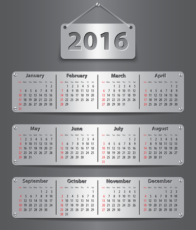 Calendar for 2016 year in English attached with metallic tablets. Illustration
