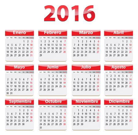 Red glossy calendar for 2016 year in Spanish language.