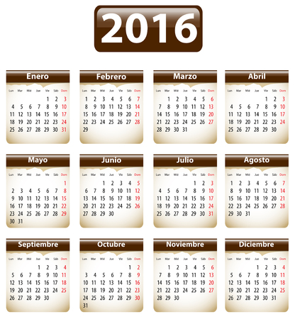 Brown calendar for 2016 year in Spanish with torn papers. Vector illustration