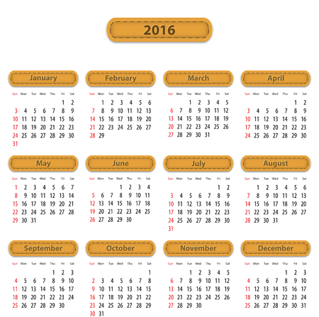 Calendar for 2016 year in English with leather stickers. Vector illustration