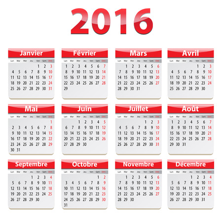 Calendar for 2016 year in French. Vector illustration