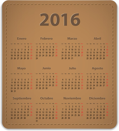 Calendar for 2016 year on brown leather background in Spanish. Vector illustration Ilustração