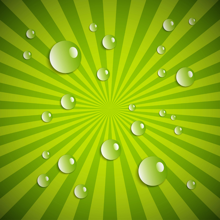 Water drops on green radial background. Vector illustration