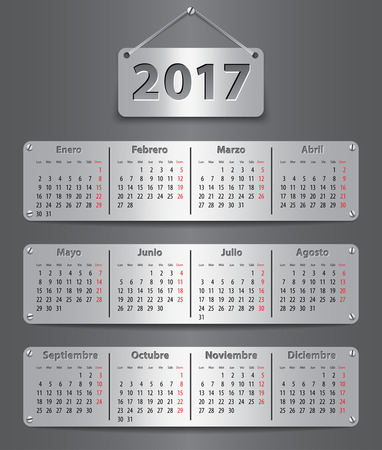 Calendar for 2017 in Spanish with attached metallic tablets. Vector illustration Ilustração