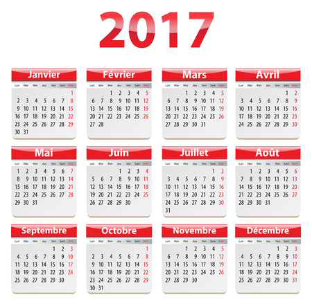 Calendar for 2017 year in French. Vector illustration
