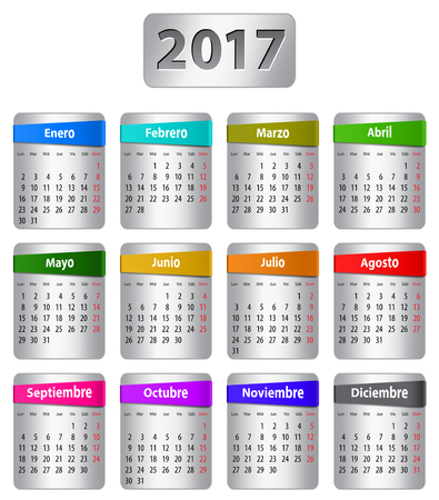 Calendar for 2017 year in Spanish with colorful stickers. Vector Ilustração