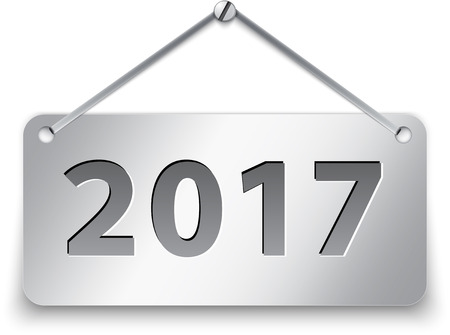 Metallic gray tablet for 2017 year. Vector illustration Ilustração