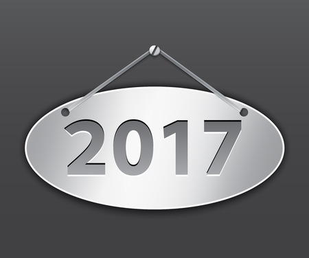 Metallic oval tablet for 2017 year. Vector illustration Ilustração