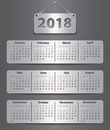 Calendar for 2018 year in English attached with metallic tablets. Vector illustration