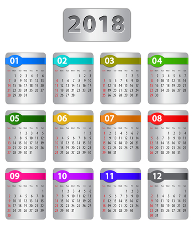 Calendar for 2018 year with colorful stickers. Vector illustration Ilustração