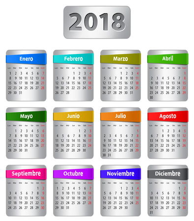 Calendar for 2018 year in Spanish with colorful stickers. Vector