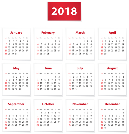 Calendar for 2018 year on white papers in English. Vector illustration