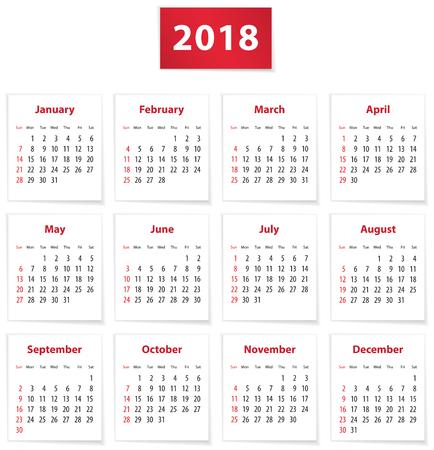 Calendario para el año 2018 en libros blancos en inglés. Ilustración vectorial