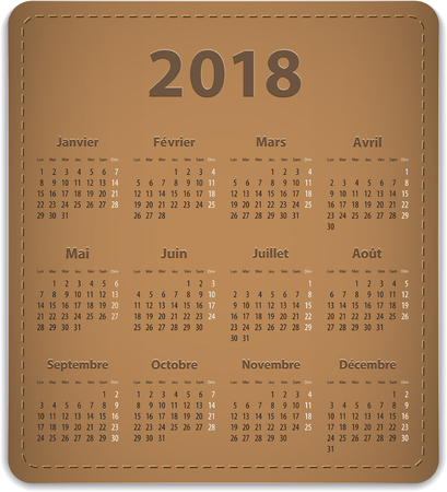 Calendar for 2018 year in French Vector illustration Ilustração