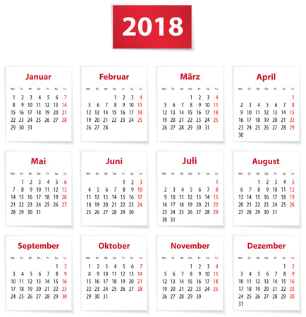 Calendar for 2018 year in German Vector illustration Ilustração