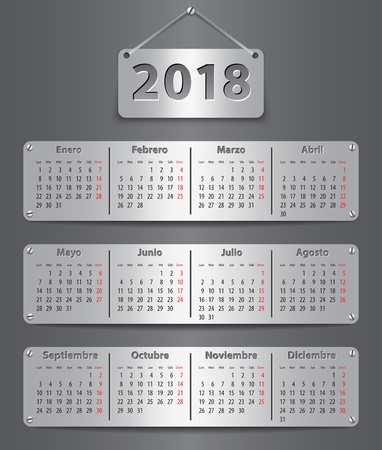 Calendar for 2018 in Spanish with attached metallic tablets Vector illustration