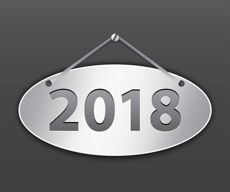 Metallic oval tablet for 2018 year. Vector illustration
