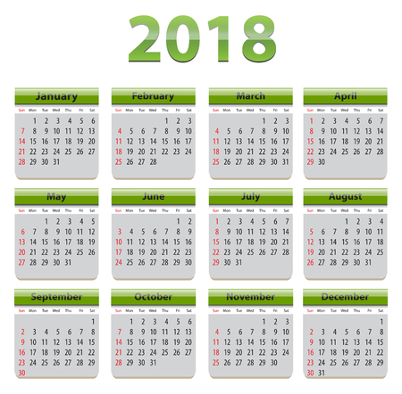 Green calendar for 2018 year in English language Ilustração