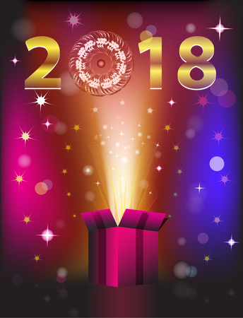 Magical gift card for 2018 New Year. Vector illustration