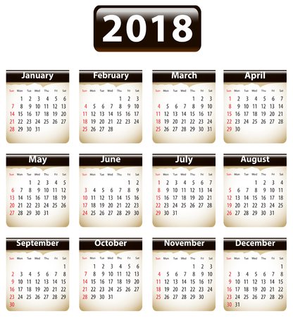 Calendar for 2018 year with torn papers in English. Vector Ilustração