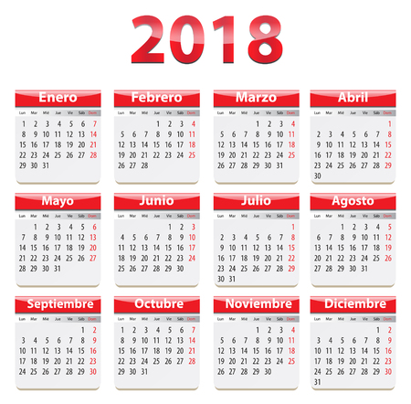 Red glossy calendar for 2018 year in Spanish language. Vector illustration Ilustração