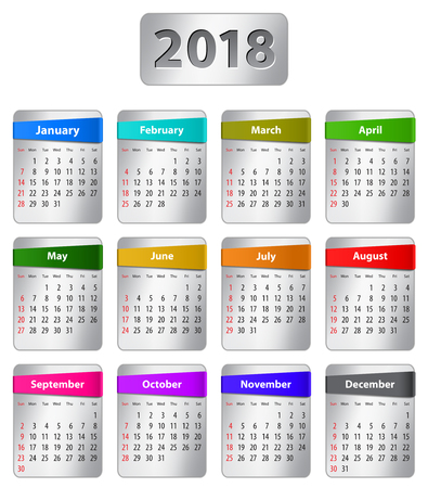 Calendar for 2018 year in English with colorful stickers. Vector illustration