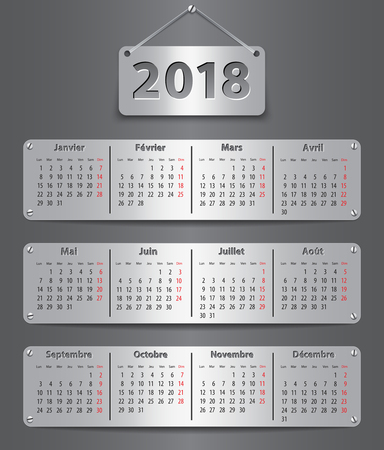 Calendar for 2018 year in French with attached metallic tablets. Vector illustration