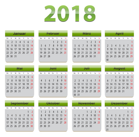 Green calendar for 2018 year in German language