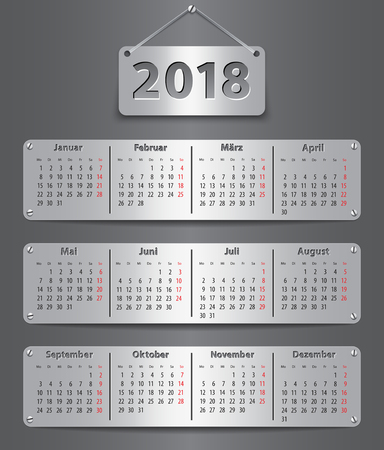 Calendar for 2018 in German with attached metallic tablets.