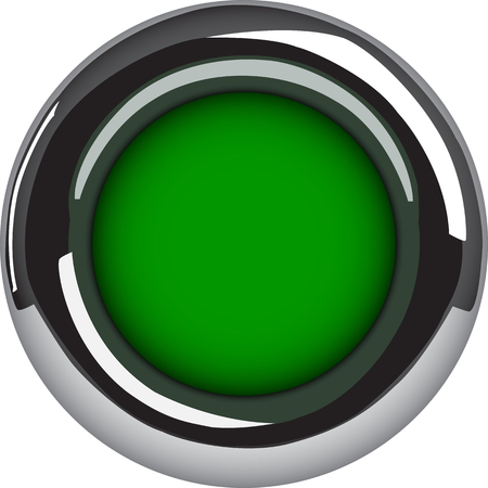 Green button. Vector illustration of empty metallic circle button isolated on white background