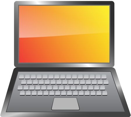 Metallic laptop isolated on white background. Computer notebook with glossy blank screen. Vector illustration