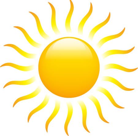 Sun is shining like flame. Isolated on white background. Vector illustration