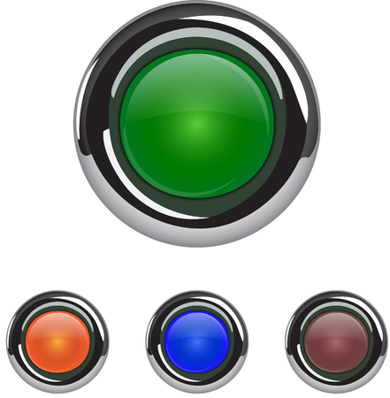 Empty colorful buttons. Glossy and metallic web icons. Vector illustration Ilustração