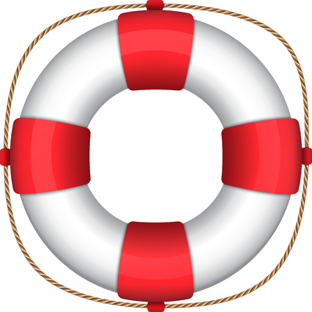 Lifebuoy isolated on white. Vector illustration of a lifesaver ring. Lifebelt Ilustração