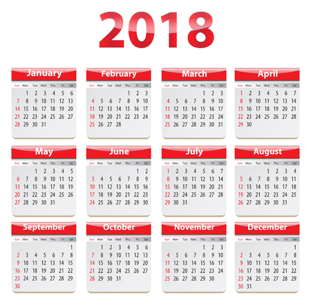 Calendar for 2018 year in English. Vector illustration